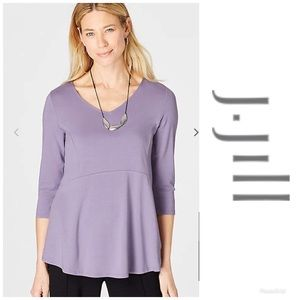 J Jill Shirt Wearever V-Neck Peplum Top Lilac MED